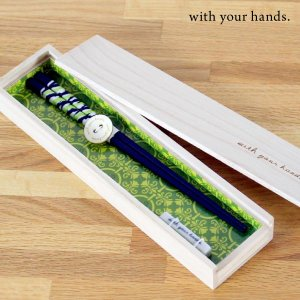 【with your hands】木箱入り箸 スパイラル はし 箸 箸置き 木製 国産 オシャレ カフェ風 セット ギフト プレゼント 祝い fofoca fofoca