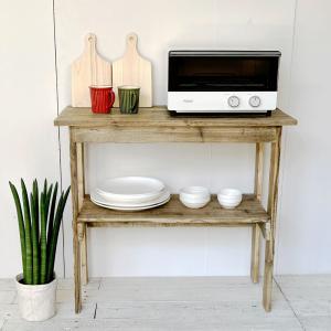 コンソールテーブル 2  木製テーブル 飾り棚  キッチン収納 ラック 収納棚 整理棚 天然木 無垢...