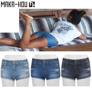 MAKA-HOU マカホー レディース サーフパンツ Denim Print Pants 41W05-61S デニムプリントパンツ ボードショーツ マカホウ women shorts|follows