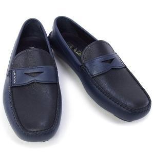 プラダ PRADA 靴 メンズ ドライビングシューズ ローファー ネイビー×ブラック (2DD001 SAFFIANO BICOLO BALTICO+NERO)