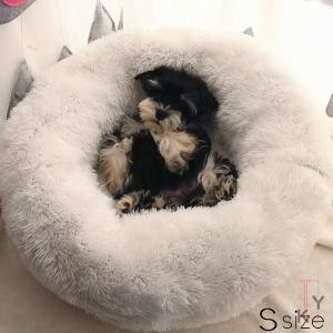 ペットベッド ドーナツ型 フェイクファー カドラー ペット用 犬用 猫用 冬 無地 シンプル ふかふか ふわふわ クッション ギフト バレンタインギフト|fontier-tokyo