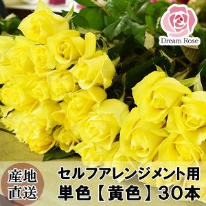 セルフアレンジメント用 バラ 【 黄色 】 単色 30本 薔薇 生花 切花 新鮮なバラを産地直送 ドリームローズ food-sinkaitekiya