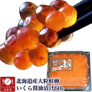 大粒鮭卵 北海道産いくら醤油漬け60g イクラ丼海鮮丼 高級魚介類 海外産不使用 冷凍