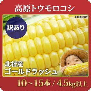 「順次発送中!」北杜産 ゴールドラッシュ 10〜15本 4.5kg以上 訳あり とうもろこし L〜3L混合 ひげ・葉っぱ付き|foodsup