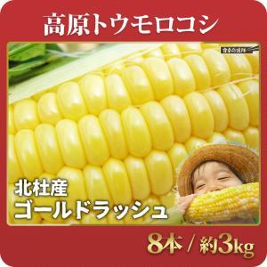 「順次発送中!」北杜産 ゴールドラッシュ 8本 約3kg L〜3L混合 とうもろこし ひげ・葉っぱ付き|foodsup