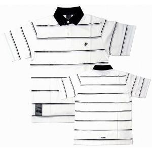 GRANDE ポロシャツ ボーダータイプ 半袖[ホワイト/ブラック]|footballfan