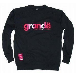 GRANDE クルーネックスウェット「グラディエーション」[ブラック×レッド]|footballfan