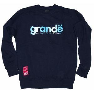 GRANDE クルーネックスウェット「グラディエーション」[ネイビー×ブルー]|footballfan