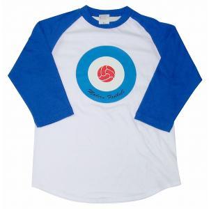 【Modern Football】ターゲット(サッカーボール) ラグラン7分袖Tシャツ(白×青×赤)|footballfan