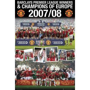 マンチェスターユナイテッド リーグ&チャンピオンズリーグ 2冠優勝2008 ポスター|footballfan