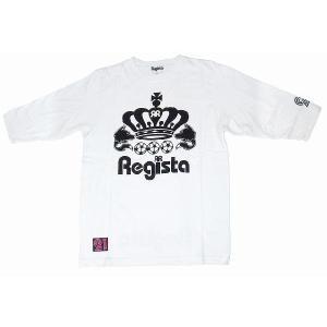 Regista crown(王冠) 5分丈Tシャツ(ホワイト×ブラック)|footballfan