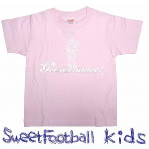 SWEET☆FOOTBALLキッズ Get a Chance Tシャツ(ライトピンク×ホワイト)|footballfan