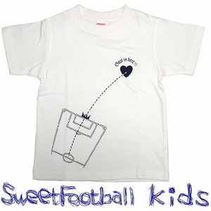 SWEET☆FOOTBALLキッズ Goal to Heart Tシャツ(ホワイト×ネイビー)|footballfan
