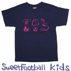 SWEET☆FOOTBALLキッズ I am a Footballer Tシャツ(ネイビー×トロピカルピンク)|footballfan