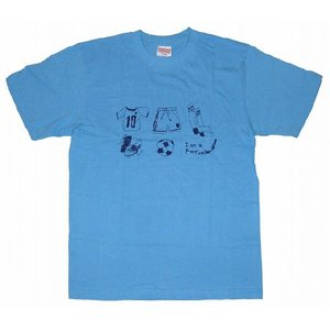 SWEET☆FOOTBALL I am a Footballer Tシャツ(サックス×ネイビー)|footballfan