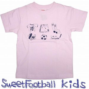 SWEET☆FOOTBALLキッズ I am a Footballer Tシャツ(ライトピンク×ネイビー)|footballfan