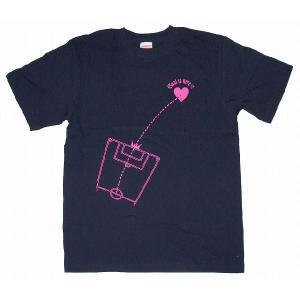 SWEET☆FOOTBALL Goal to Heart Tシャツ(ネイビー×トロピカルピンク)|footballfan