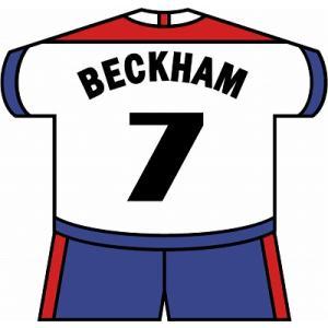 st127 ベッカム(イングランド代表) ユニフォーム型ステッカー|footballfan