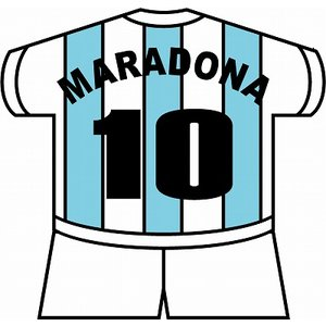 st133 マラドーナ(アルゼンチン代表) ユニフォーム型ステッカー|footballfan