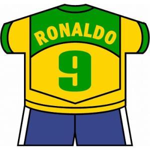 st141 ロナウド(ブラジル代表) ユニフォーム型ステッカー|footballfan