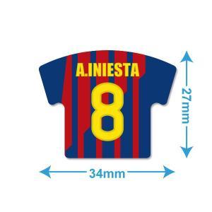 イニエスタ(FCバルセロナ 8)ユニフォーム型ミニステッカー〔HOME〕 footballfan