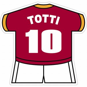 トッティ(ASローマ 10) ユニフォーム型ステッカー|footballfan