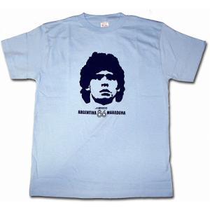 マラドーナ MARADONA/アルゼンチン代表(メキシコ86) Tシャツ(水色)|footballfan