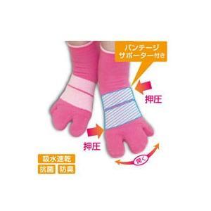 薄手の3本指テーピング靴下新登場!甲部分に内蔵されたテーピングサポーター機能が、心地よいソフト感で足...