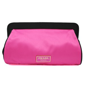 プラダ ポーチ PRADA コスメポーチ プラダ ノベルティ 化粧ポーチ ブラック/ピンク 限定 ネコポスで送料半額