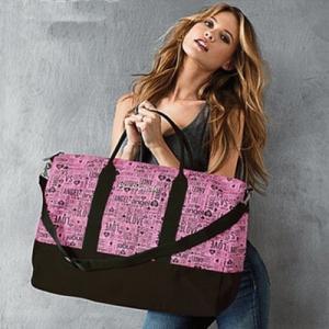 ヴィクトリアシークレット バッグ Victoria's Secret ボストンバッグ ノベルティ ショルダー付き ピンク×ブラック 限定