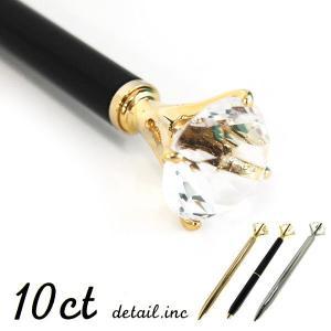 ボールペン 10ct  ブラック  ダイアモンドモチーフペン 10カラット クリスタル シルバー ブラック ゴールド ディテール|foranew