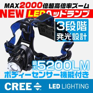 特売 LEDヘッドランプ 懐中電灯 3モード 2000倍ズーム CREE充電式調節可 2000LM ヘッドライト ボディーセンサー搭載 送料込み 1個YXD