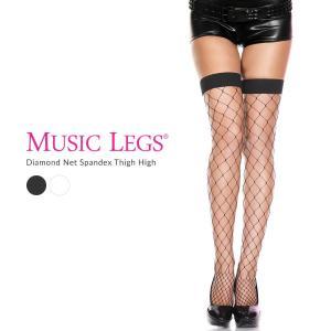 Music Legs フィッシュネット ニーハイ ストッキング 網タイツ 膝上丈 大ネット
