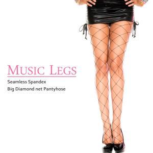 MUSIC LEGS シームレス ビッグダイアモンドネット 網タイツ ブラック