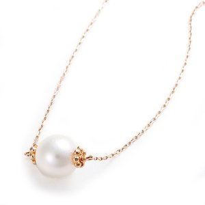 アコヤ真珠 ネックレス パールネックレス K10 ピンクゴールド シンプル 約7mm 約7ミリ パー...