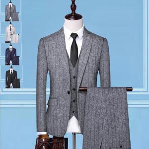 スーツ メンズ 3ピーススーツ セットアップ テーラード フォーマル 細身 一つボタン チェック柄 ...