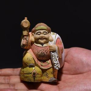 注目新作 木彫り 彫刻品 大黒天財神 仏像美術 風水置物 仏像 守り神