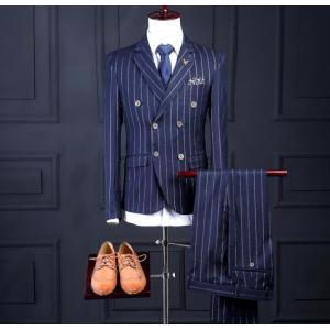 メンズ スーツ3点セットアップ スリーピース ビジネスフォーマル 細身高級 立体裁断紳士服ストライプ...