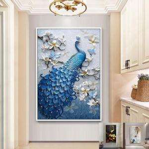油絵 絵画 寝室 玄関 飾り 壁掛け 極上品質!希少品!アートパネル  額つき 美術品 用 動物孔雀 撥水縁起物 北欧風