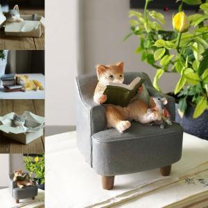 動物樹脂工芸品 猫造形 置物玄関飾り寝室 インテリア可愛い美術品 イギリス風プレゼント4種類