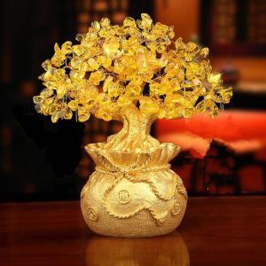 黄水晶工芸品 置物縁起物招財 玄関飾り インテリア金運 アップ パワーストーン 金のなる木 商売繁盛