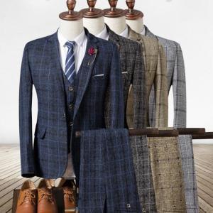 高品質スリーピーススーツ結婚式ビジネス 通勤イギリス風 チェック柄3点セットフォーマル1つボタン
