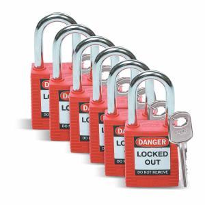 セイフティーパドロック 赤 6個入り 非導電性|foresttech