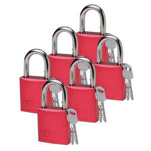 ロックアウトツール アルミ製 パドロック 赤 25.4mm シャックル 6個入り|foresttech