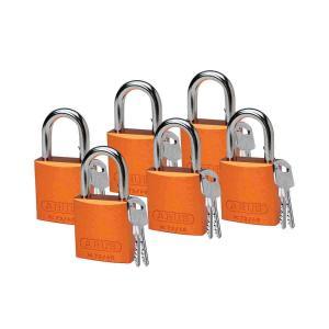 ロックアウトツール アルミ製 パドロック オレンジ 25.4mm シャックル 6個入り|foresttech