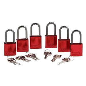 ロックアウトツール アルミ製 パドロック 赤 38.1mm シャックル 6個入り|foresttech