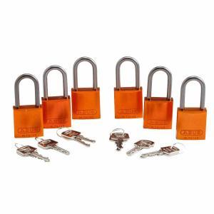 ロックアウトツール アルミ製 パドロック オレンジ 38.1mm シャックル 6個入り|foresttech