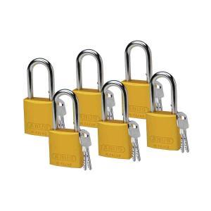 ロックアウトツール アルミ製 パドロック 黄 38.1mm シャックル 6個入り|foresttech