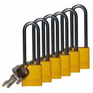 ロックアウトツール アルミ製 パドロック 黄 76.2mm シャックル 6個入り|foresttech