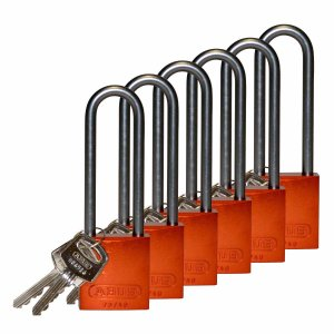 ロックアウトツール アルミ製 パドロック オレンジ 76.2mm シャックル 6個入り|foresttech